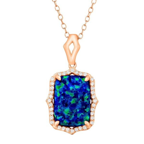 2 3/4 ct Created Blue Opal & White Topaz Pendant in 18K Rose Gold-Plated Sterling Silver