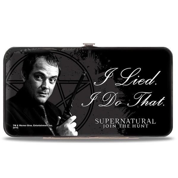 Crowley I Lied I Do That Pentagram Black Grays White Hinged Wallet - One Size Fits most