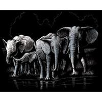 "Elephant Herd - Silver Foil Engraving Art Kit 8""X10"""