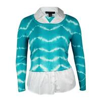 INC International Concept Womens Layered Look Sweater - teal glow