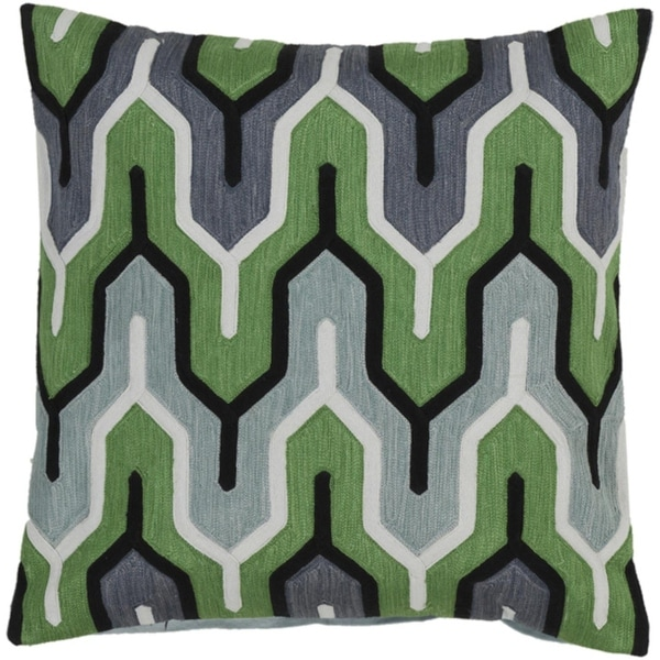 "22"" Belvedere Stripes Green, Ivory and Gray Decorative Square Throw Pillow"