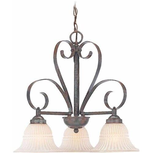 Volume Lighting V3323 Florentia 3 Light 1 Tier Chandelier with Scavo Glass Bell