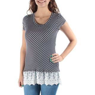 Womens White, Navy Striped Cap Sleeve Jewel Neck Casual Hi-Lo Top Size 2XS