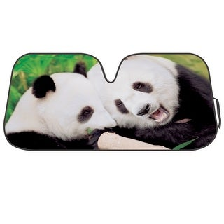 KM WORLD Licensed COUPLE PANDA BEAR Auto Shade Cool Trending Pet Designs Sunshade with Reversible Silver Backing