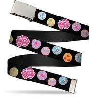 Blank Chrome Buckle My Little Pony 6 Cutie Marks Black Multi Color Web Belt