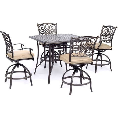 Hanover Traditions 5-Piece High-Dining Set in Tan with Table