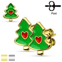 Pair of Christmas Trees with Heart 316L Stainless Steel Stud Earrings