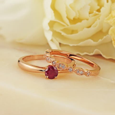 Auriya 14k Gold 1/2ctw Vintage Solitaire Ruby Engagement Ring Set 1/6ctw