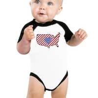 American Flag Pattern USA Map Baby Bodysuit Cute Raglan Baseball Tee