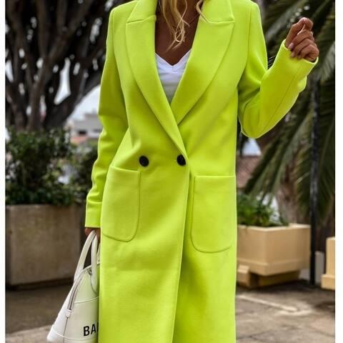 Long Candy Color Lapel Woolen Coat Women's Clothing