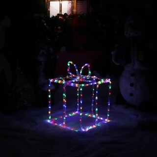 Sunnydaze Multi-Color LED 3D Gift Box Silhouette - Indoor-Outdoor - 18-Inch
