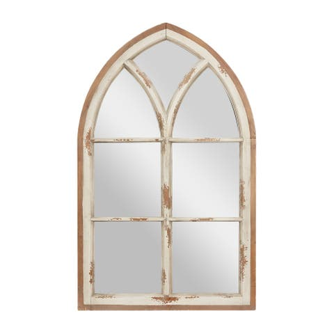 Large Distressed White Wood Arched Wall Mirror w Window Frame - 32 x 2 x 51