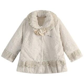 Richie House Little Girls Beige Fleece Lace Detail Coat 4-7