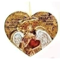 "4.5"" Royal Symphony Inspirational Rustic Heart Angel Glass Christmas Ornament"