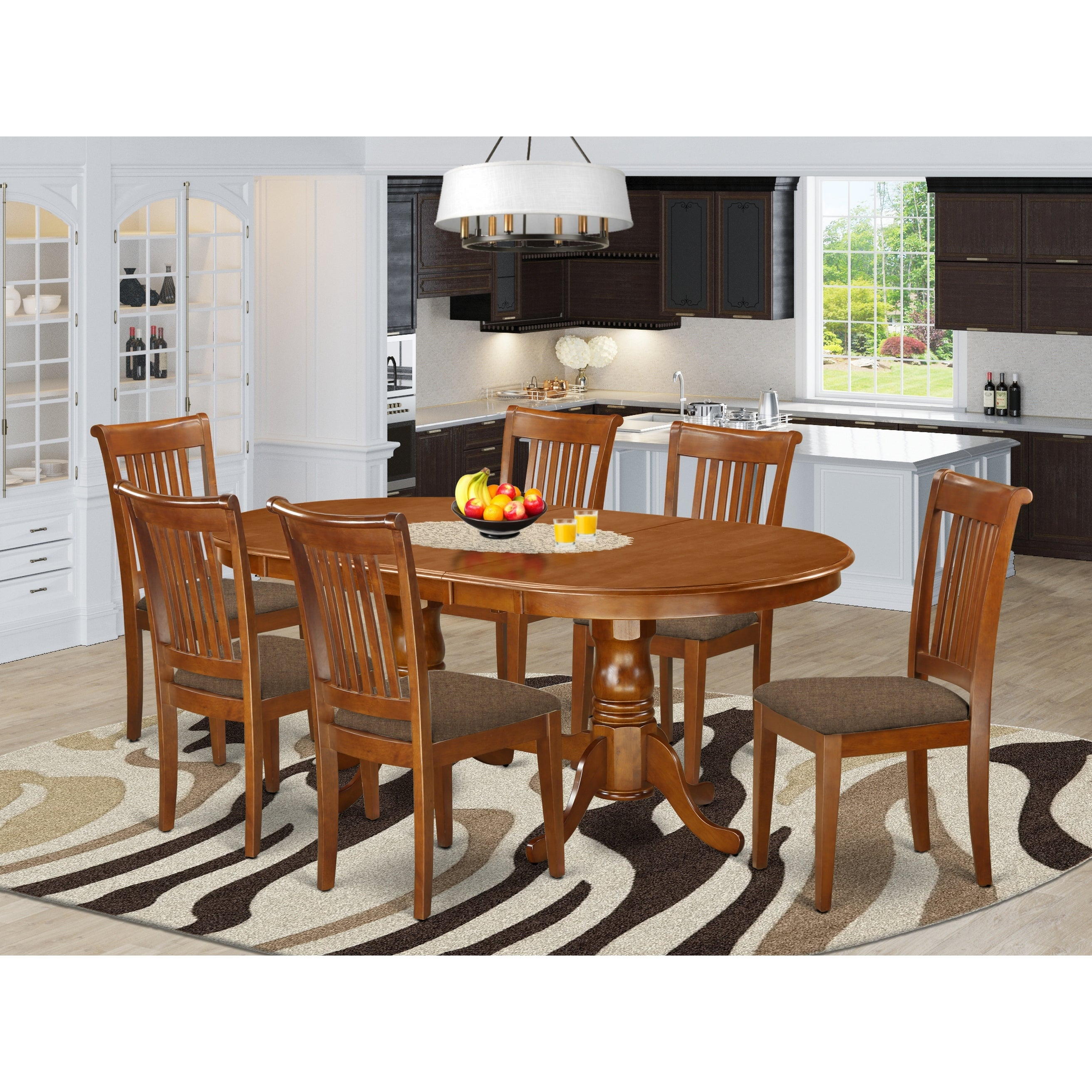 7 Pc Dining Room Set Dining Table Plus 6 Chairs In Saddle Brown Finish Overstock 17676493