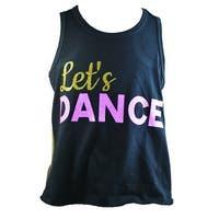 "Reflectionz Girls Black Gold Pink Glitter ""Let's Dance"" Tank Top"