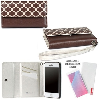 JAVOedge Brown Lantern Design Wallet Case / Card Holder, Screen Protector, Wristlet for the Apple iPhone 5S / iPhone 5