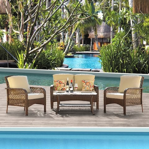 Ketchikan 4-piece Patio Conversation set with by Havenside Home