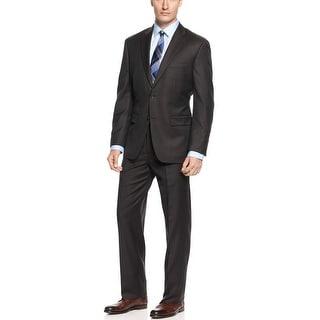 Tasso Elba Brown Striped Wool 2pc Suit 38 Regular 38R Flat Front Pants 32W