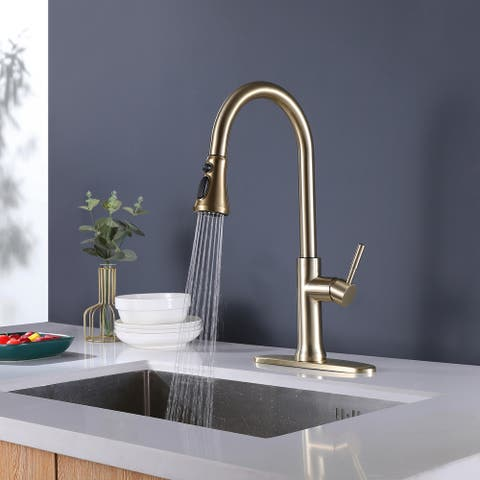Gold Single Handle Pull-Down Sprayer Kitchen Faucet