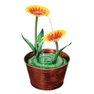 What on Earth Decorative Tabletop Fountain - Two Flowers in a Pot - Variable Speed Pump