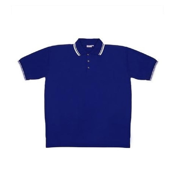Men's Blue Knit Pullover Golf Polo Shirt - Large