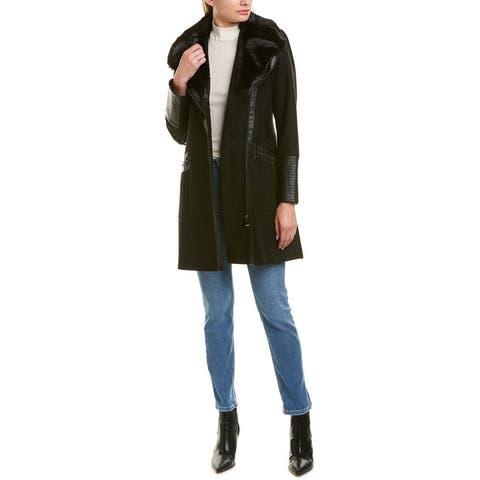Via Spiga Black Kate Middleton Wool-Blend Coat