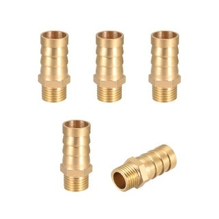 "Brass Barb Hose Fitting Connector Adapter 14 mm Barbed x1/4"" G Male Pipe 5Pcs - 1/4"" G x 14mm"