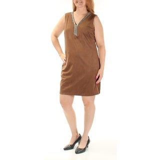 Womens Brown Sleeveless Above The Knee Sheath Dress Size: 14