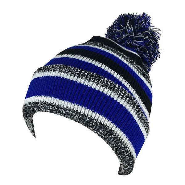 Shop Mens Women 3552V Stripe Cuff Knit Pom Beanie Hat - Blue Black White -  Free Shipping On Orders Over  45 - Overstock - 18616112 099b838feb6
