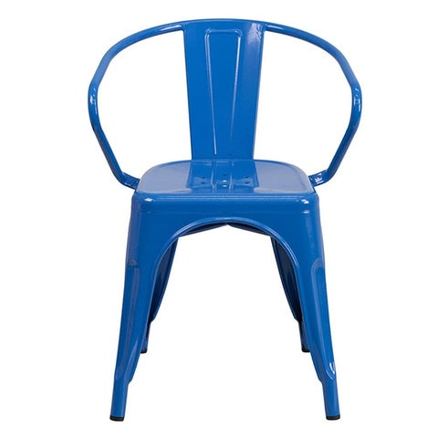 Offex Blue Metal Indoor-Outdoor Chair With Arms [OF-CH-31270-BL-GG]