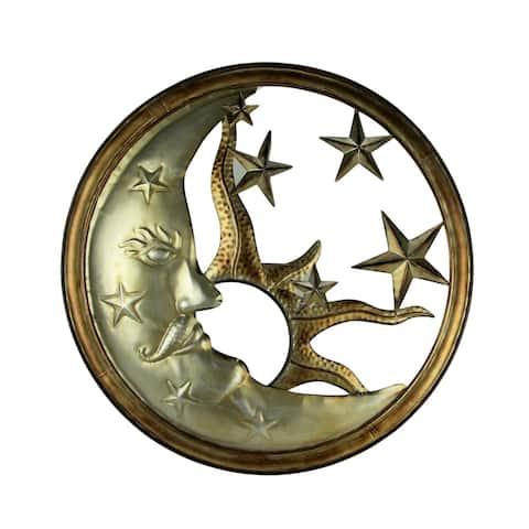 Bronze and Antique Silver Metal Art Sun Moon and Stars Indoor Outdoor