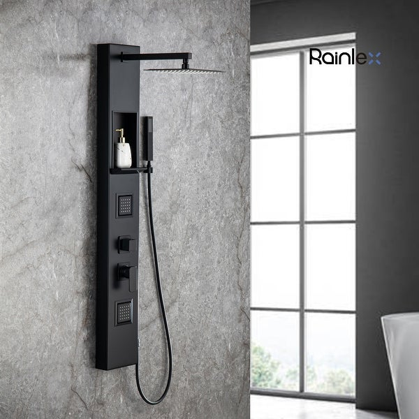 Rainlex 55in. 2-Jet Shower Panel System with Rainfall Waterfall Shower and Head Handshower