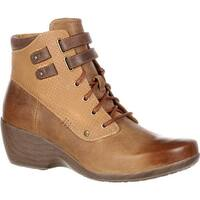 4EurSole Women's Concerto Wedge Ankle Boot Brown Wheat Leather