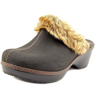 Crocs Cobbler Fuzz Women Round Toe Leather Clogs