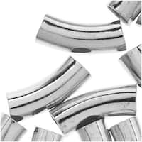 Silver Plated Curved Noodle Tube Beads 5mm x 14mm (25)