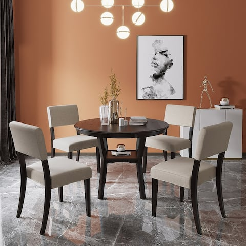 TiramisuBest Kitchen Dining Table Set Round Table and 4 Chairs