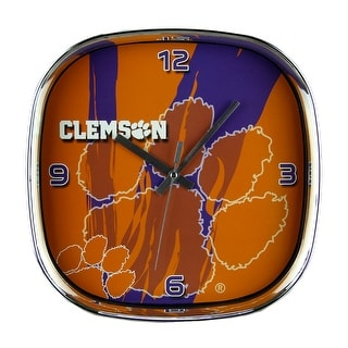 Clemson University Tigers Glass Face Wall Clock Chrome Finished Frame Orange 11 5 X 11 5 X 2 Inches