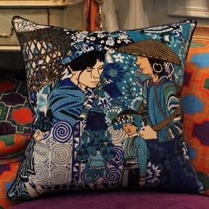 """Luxury Asian Ethnic Costume Colorful Blue Pillow 18""""X18"""" (3 options available)"""