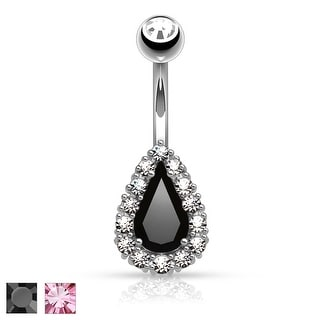 Round CZ Paved Around Prong Set Tear Drop CZ Belly Button Rings