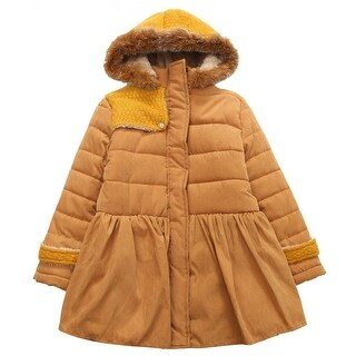 Richie House Little Girls Yellow Bow Faux Trimmed Hood Padding Jacket 3-6
