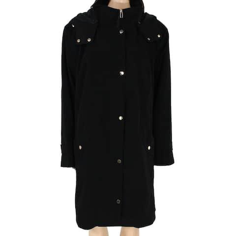 Gallery Womens Raincoat Black Size 2X Plus Detachable Hood Zip Button
