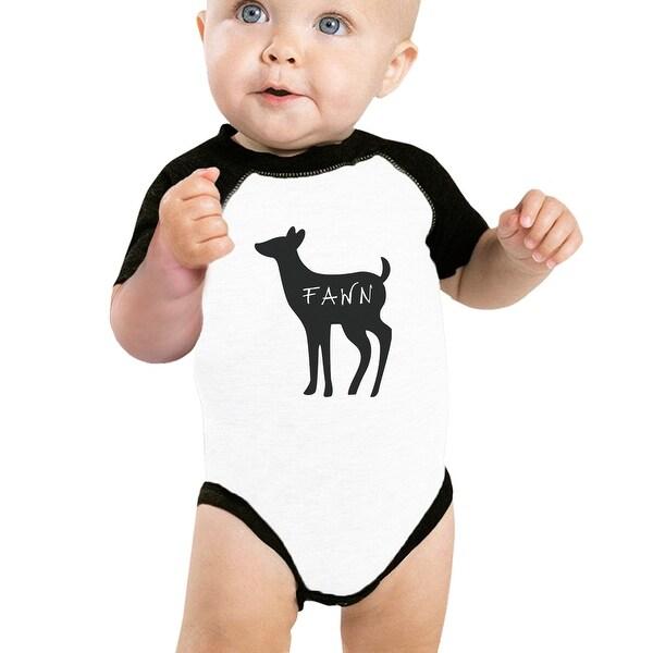 Fawn Cute Baby Baseball Bodysuit Black Sleeve Cotton Baby Raglan