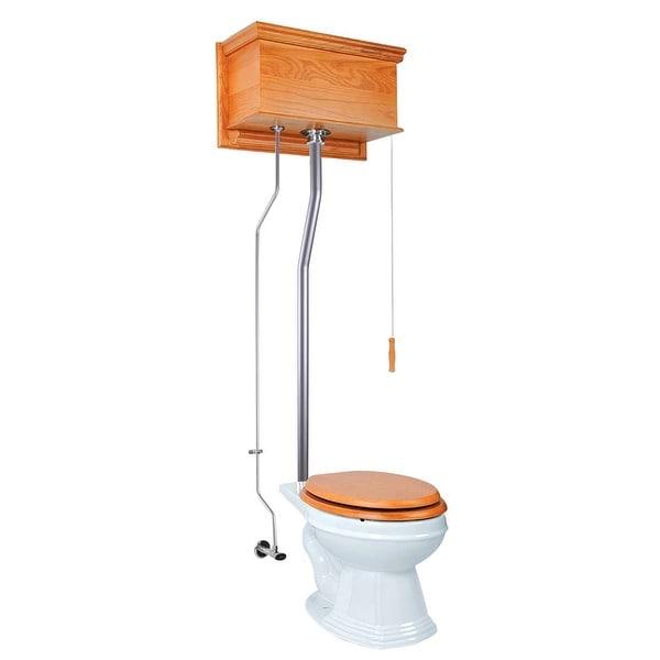 High Tank Toilets Light Oak Flat Tank Elongated High Tank Toilet