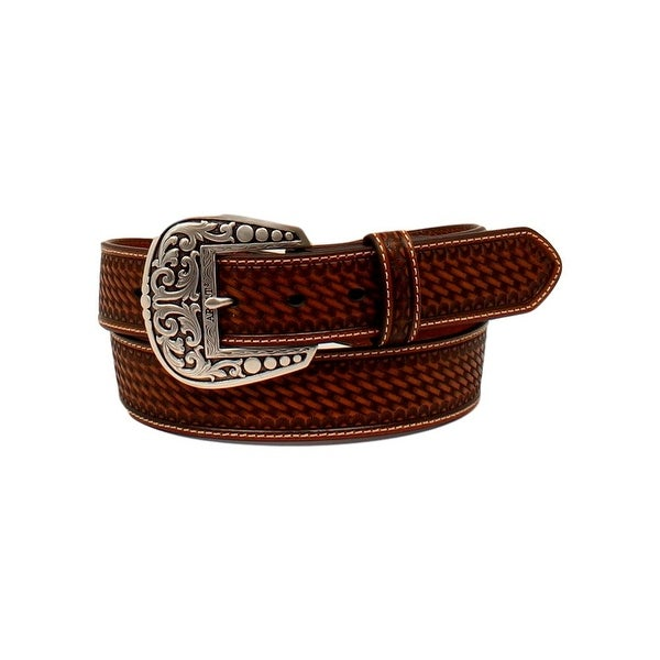 Ariat Western Belt Mens Tooled Diamond Concho Overlay Tan