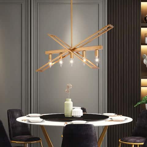 "Modern Glam 5-light Gold Chandelier Hanging Ceiling Lighting for Dining Room - L25.6"" *W8.2"" * H18"""