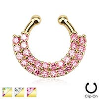 Double Line Paved Gem Gold IP Non-Piercing Septum Hanger (Sold Individually)