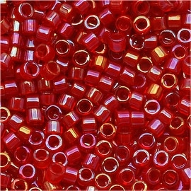 Miyuki Delica Seed Beads 11/0 Red Lined Red AB DB295 7.2 Grams