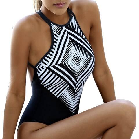 031b97c28da9d QZUnique Women's Sexy Bikini High Neck Crosscover Bandage Swimsuit One-piece  Design