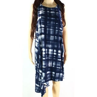 Alfani NEW Blue Women's Size 16 Asymmetrical Hem Printed Seamed Dress